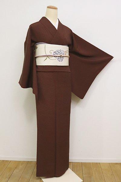 銀座【C-1833】(S)人間国宝 中村勇二郎 伊勢型小紋 赤褐色 古代菊 (落款入)