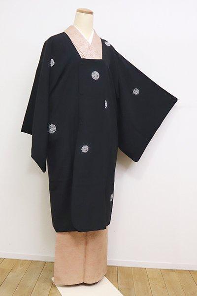 銀座【E-1219】道行コート 黒色 花弁の丸文