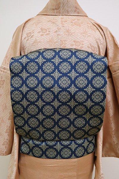 銀座【K-6634】龍村美術織物製 光波帯 青藍色 稜華文錦