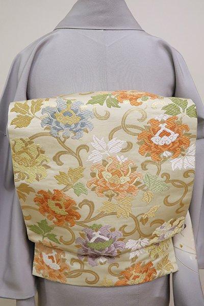 銀座【L-4976】西陣 服部織物製 袋帯 鳥の子色 牡丹唐草文(落款入)