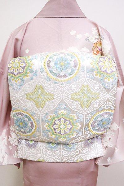 銀座【L-4977】西陣製 袋帯 白色 装飾華文(証紙付)(N)