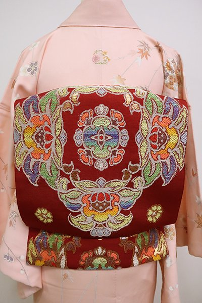銀座【L-4978】龍村平蔵製 本袋帯 紅海老茶色「天平夾纈花文錦」