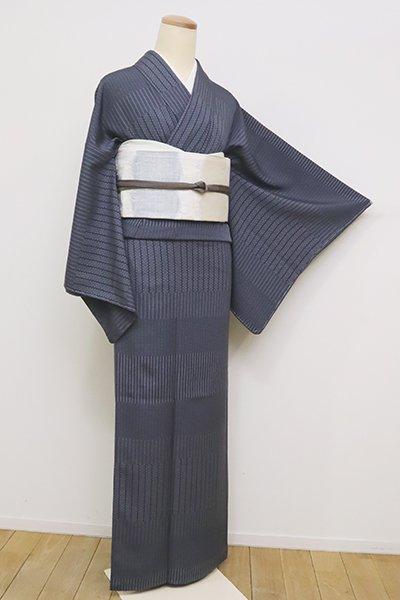 銀座【C-1834】江戸小紋 青褐色 横段に小紋柄寄せ