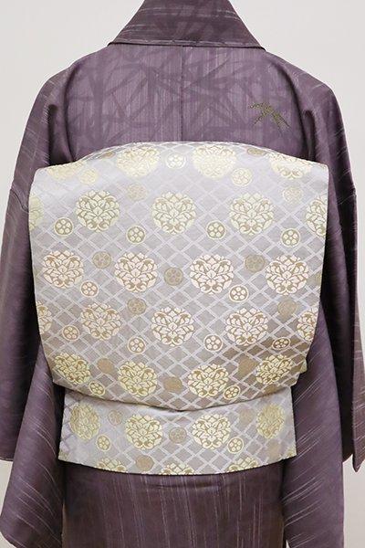 銀座【L-4979】西陣製 袋帯 白鼠色 松皮菱に有職丸文