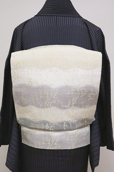 銀座【L-4981】洒落袋帯 白色 横段