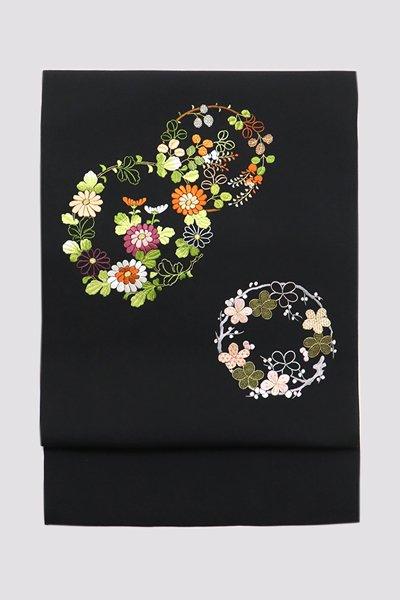 【帯3273】塩瀬地刺繍名古屋帯 黒色 花の丸文