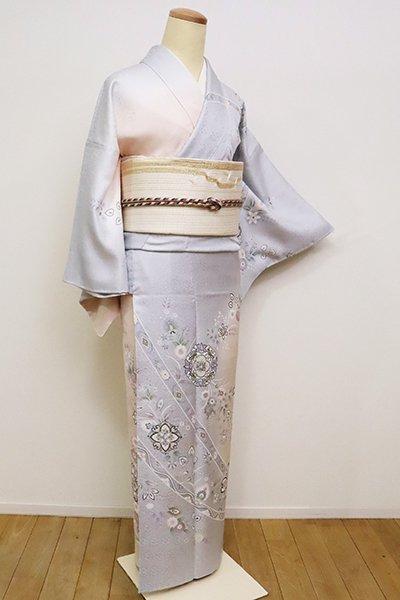 銀座【B-2516】(S)訪問着 桜色×白菫色 更紗花に華文