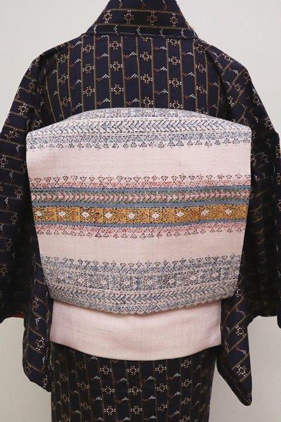 銀座【K-6641】紬地 染名古屋帯 虹色 装飾文の横段