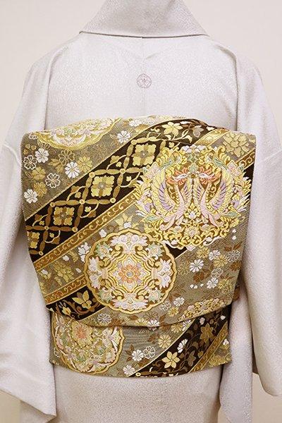 銀座【L-4982】西陣 服部織物製 袋帯 金色×黒色 斜め段に鳳凰の丸や華文(落款入)
