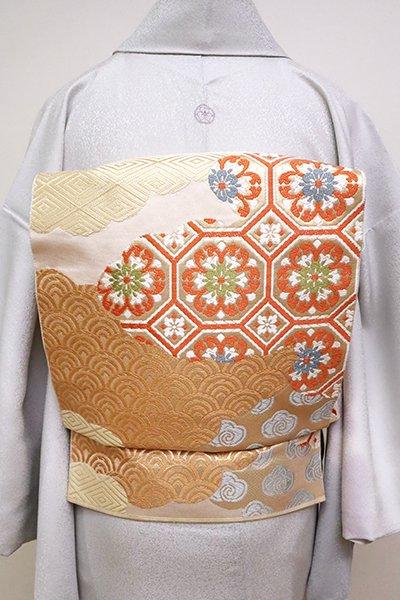 銀座【L-4983】西陣 川島織物製 本袋帯 練色 雲取りに割付文(落款入)