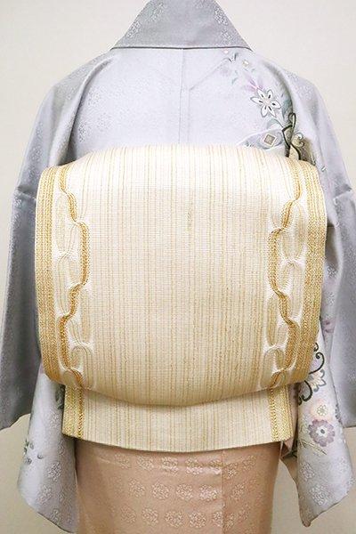 銀座【L-4984】組織り 袋帯 金色×生成り色 縞