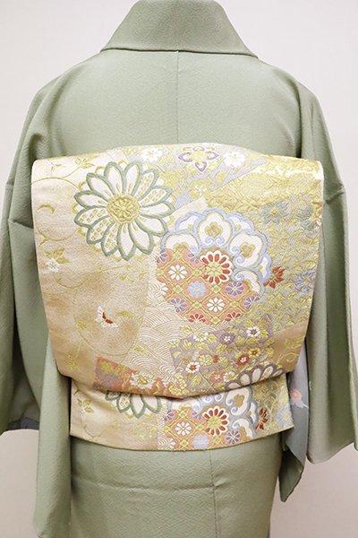 銀座【L-4986】袋帯 練色 菊唐草に色紙や華文の図
