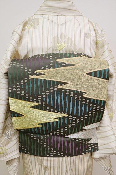 銀座【L-4987】袋帯 藍海松茶色 檜垣に松皮菱