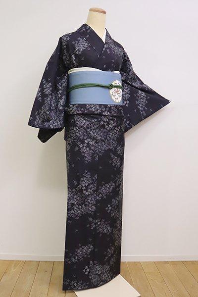 銀座【A-3053】(S)大島紬 青褐色 楓の図