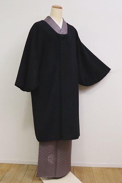 銀座【E-1221】アンゴラ混 和装コート 黒色 無地(N)