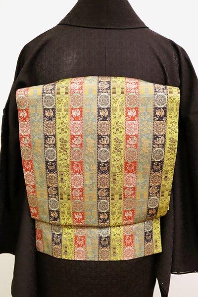 銀座【K-6644】 西陣 龍村美術織物製 光波帯 紅牙瑞錦文