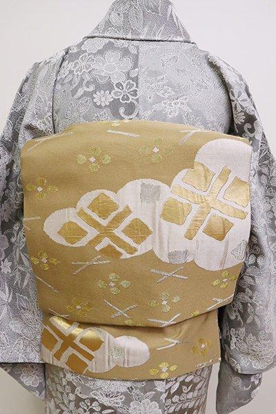 銀座【K-6649】洛風林製 織名古屋帯 榛色 秀衡文