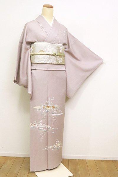 銀座【B-2520】付下げ 灰桜色 霞に四季花の図