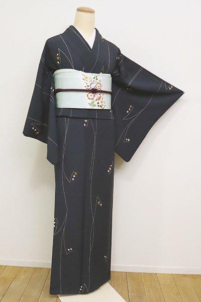 あおき【D-2455】(S・細め)小紋 藍鉄色 花枝の図