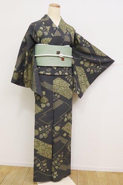 銀座【D-2459】(S)紬地 絞り染め 小紋 藍墨茶色 辻が花文