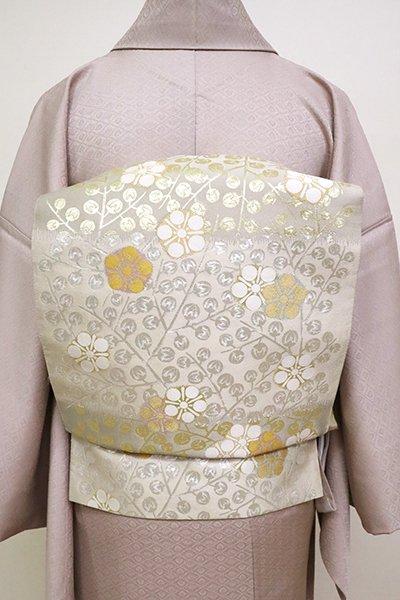 銀座【L-4989】西陣 となみ織物製 袋帯 絹鼠色 梅の図