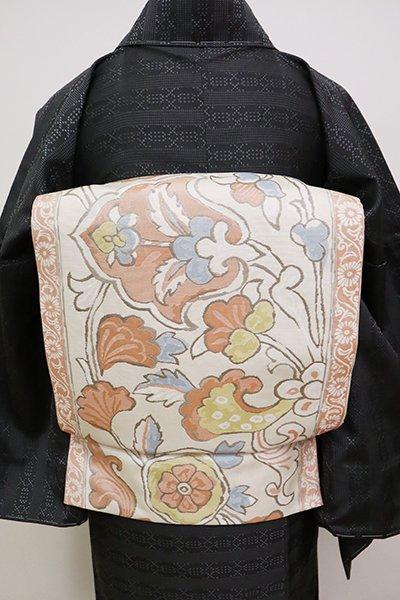 銀座【L-4991】西陣 三風魯製 洒落袋帯 練色 欧風装飾文