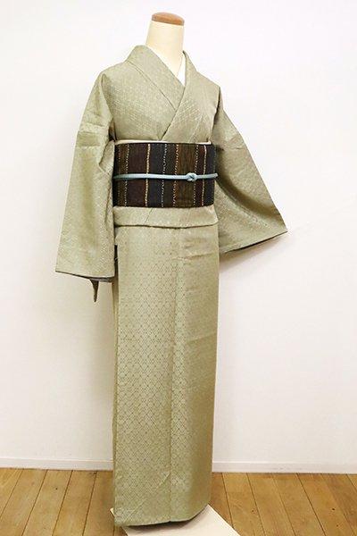 銀座【A-3059】(広め)浮き織り 着物 柳茶色 幾何文