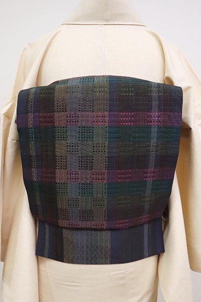 銀座【K-6657】浮き織り 名古屋帯 青褐色 多彩な格子
