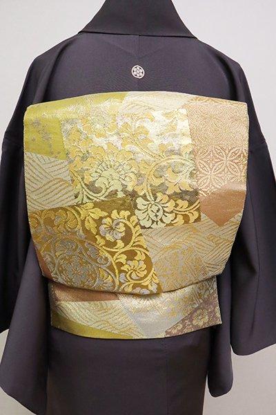 あおき【L-4992】西陣 川島織物製 本金 袋帯 波に色紙の図(落款入)