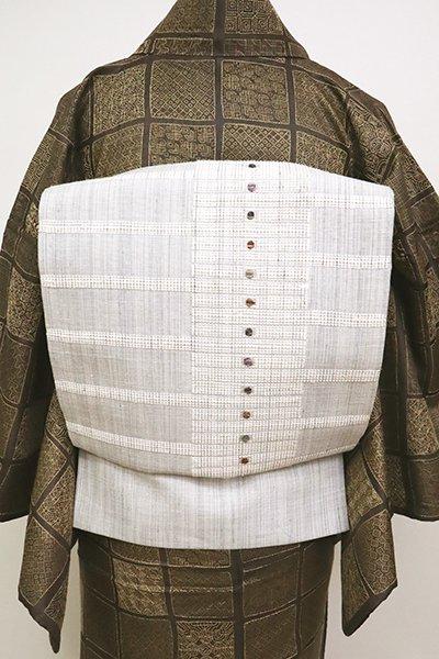 銀座【L-4994】紬地 洒落袋帯 白鼠色 幾何文
