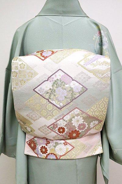 銀座【L-4995】袋帯 多彩な段暈かしに花の菱文