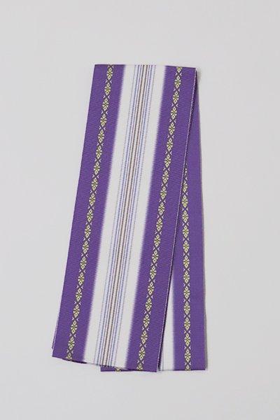 【G-1561】博多織 伊達締め 江戸紫色×胡粉色(新品・証紙付)