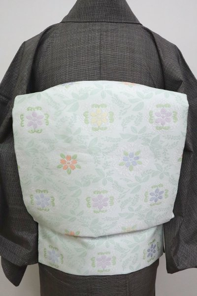 銀座【K-6665】織名古屋帯 白緑色 洋花装飾文