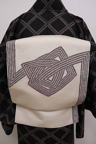 銀座【L-4997】西陣 勝山織物製 紬地洒落袋帯 灰白色 抽象文(証紙付)