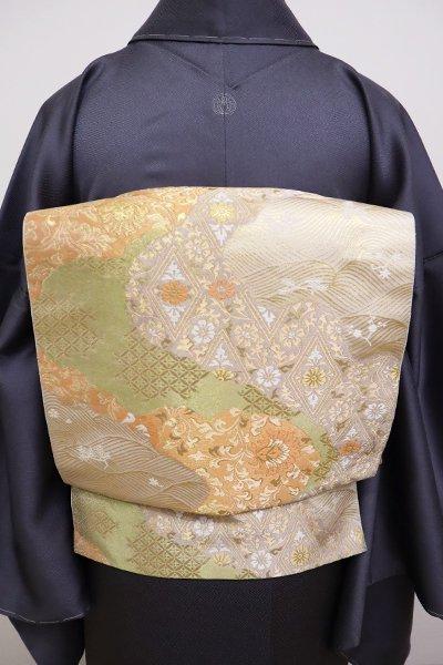 銀座【L-4998】西陣 服部織物製 袋帯 練色 道長取りに料紙文(落款入)