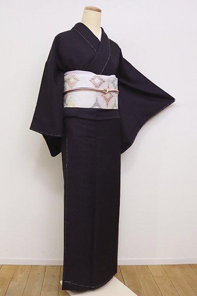 銀座【C-1840】(S)色無地 葉模様地紋 紫黒色