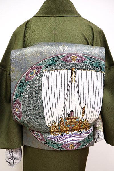 銀座【L-5005】西陣製 袋帯 青鈍色 九谷皿文 (反端・証紙・栞付)