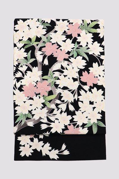 銀座【帯3280】縮緬地染名古屋帯 黒色 桜の図