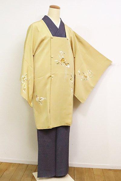 あおき【E-1226】千總製 道行コート 卵色 花の図(反端付・高島屋扱い)