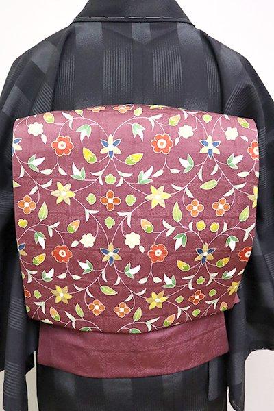 銀座【K-6675】染名古屋帯 葡萄色 装飾花唐草文(三越扱い)