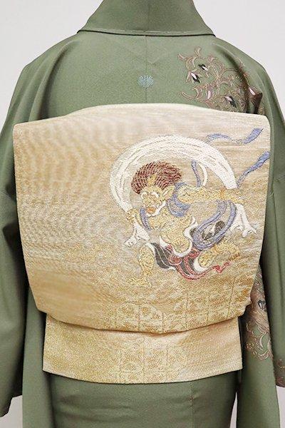 あおき【L-5016】袋帯 金色 風神雷神図