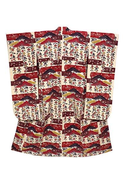 銀座【着物2715】浦野理一作 振袖 紅型 枝垂れ桜 (落款入・反端付)