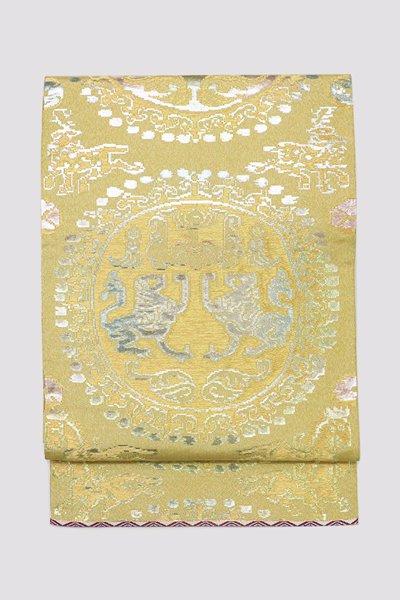 銀座【帯3293】龍村平蔵製 本袋帯 銘「円文白虎錦」(高島屋畳紙付)