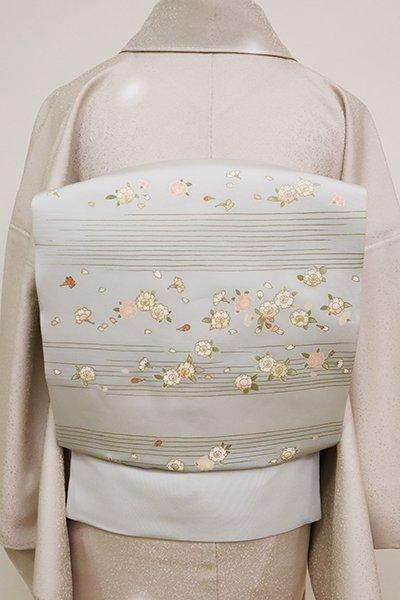 あおき【K-6684】塩瀬 染名古屋帯 薄雲鼠色 霞に八重桜の図
