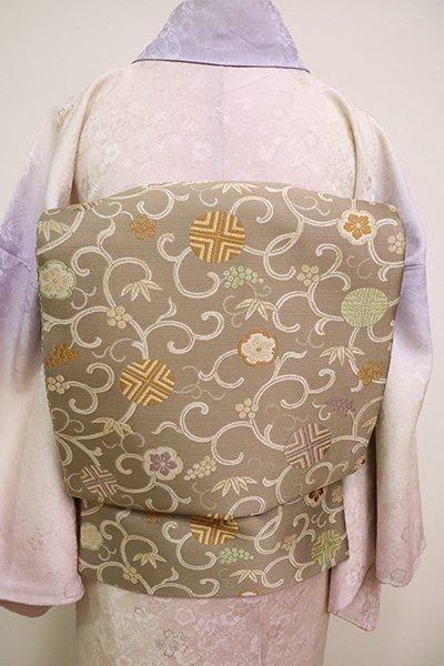 銀座【L-5023】西陣 藤原製 袋帯 茶鼠色 笹蔓文(落款入)