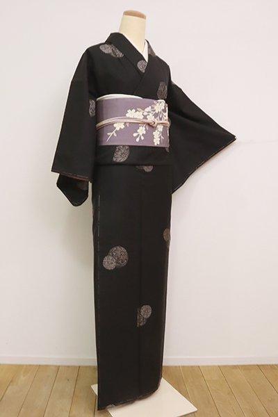 【A-3072】(L・細め)泥染 大島紬 憲法黒茶色 手鞠の図