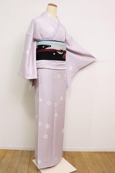 銀座【D-2473】小紋 牡丹鼠色 桜と蛍暈かし
