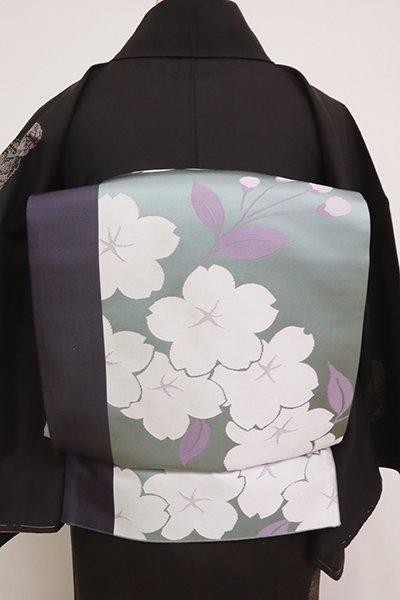 あおき【L-5024】辻村ジュサブロー作 洒落袋帯 湊鼠色 桜の図(落款入)