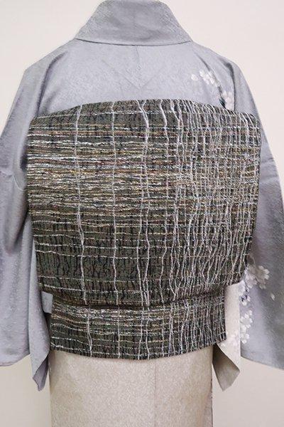銀座【L-5025】洒落袋帯 黒色 抽象文