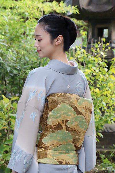 銀座【帯3301】西陣 桝屋高尾製 ねん金綴錦 袋帯「琳派老松図」